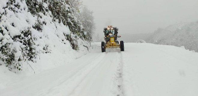 Terme'de kar yağışı etkili oldu 26 Aralık 2018