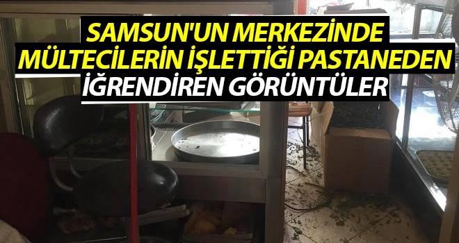 Samsun'un merkezinde Mültecilerin işlettiği pastaneden iğrendiren görüntüler
