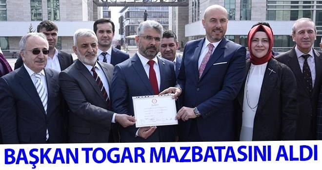 Başkan Togar Mazbatasını Aldı