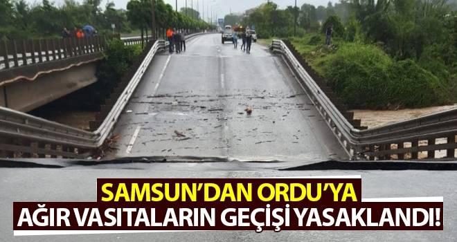 Samsun'dan Ordu'ya ağır vasıtaların geçişi yasaklandı