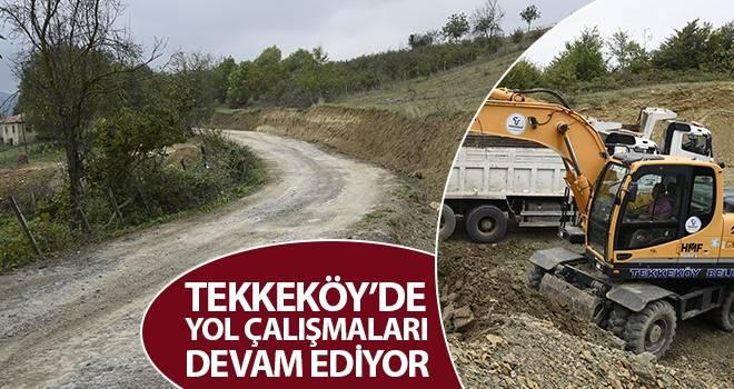 Tekkeköy'de Yol Çalışmaları Devam Ediyor
