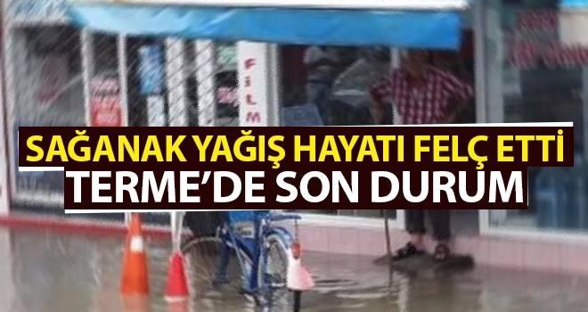 Samsun Terme'de Sağanak Yağış Hayatı Felç Etti! Sel Uyarısı geldi..!